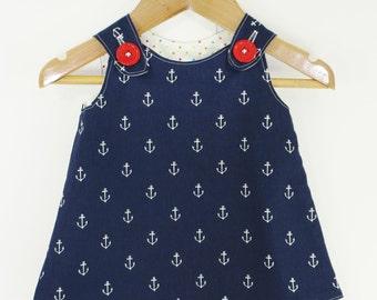 Girl dress - Nautical Aline dress - Baby girl - Toddler girl dress - size 0-3, 3-6, 6-12, 12-18, 18-24, 2T, 3T, 4T, 5T