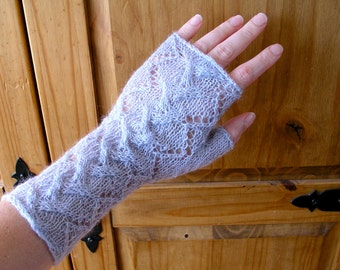 Lacy fingerless gloves / wrist warmers hand knitted