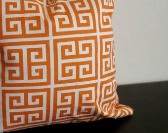 Decorative Throw Pillow Cover, Orange Greek Key Pillow,Throw Pillow Cover, Toss Pillow, Sofa Pillow, Accent Pillow, 16x16,18x18