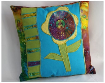 Accent Pillow, Handmade decorative throw pillow, unique and colorful, 16x16