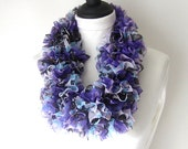 Knitted ruffle scarf in purple  blue scarf, Summer scarf, Lightweight scarf,sashay scarf, ,UK scarves, fashion scarf, mothers day gift