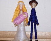 Cake Topper Couple with Baby-Custom Personalized-Pick your Pair-add ties-cumberbun-flower colors etc