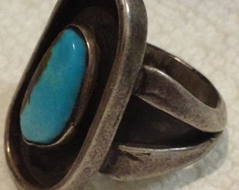 Heavy Vintage Sterling Silver and Turquoise Shadowbox Style Ring