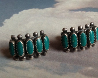 1940's Native American Early Vintage Silver & Turquoise Zuni Earrings