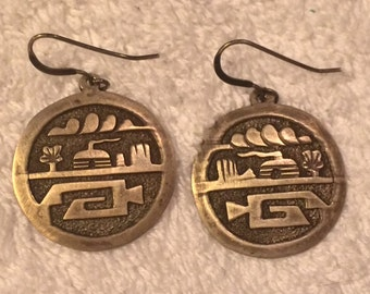 Sale - Vintage Handmade Native American Gibson Gene Hopi Overlay Earrings Signed