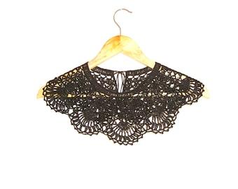 Black lace crochet dress collar Handmade detachable Peter Pan collar Bohemian necklace fashion Summer Festival wedding accessories