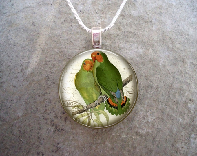Bird Jewelry - Glass Pendant Necklace - Victorian Bird 11