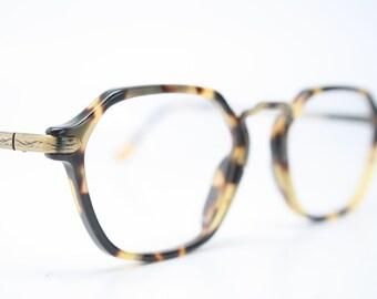 Unique Vintage Bronze & Tortoise Octagonal Eyeglass Frames Retro Eyeglasses