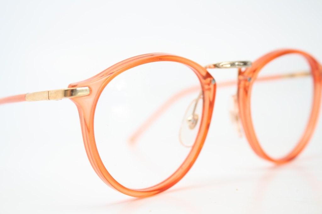 vintage glasses frames orange gold p3 shaped by pincenezshop