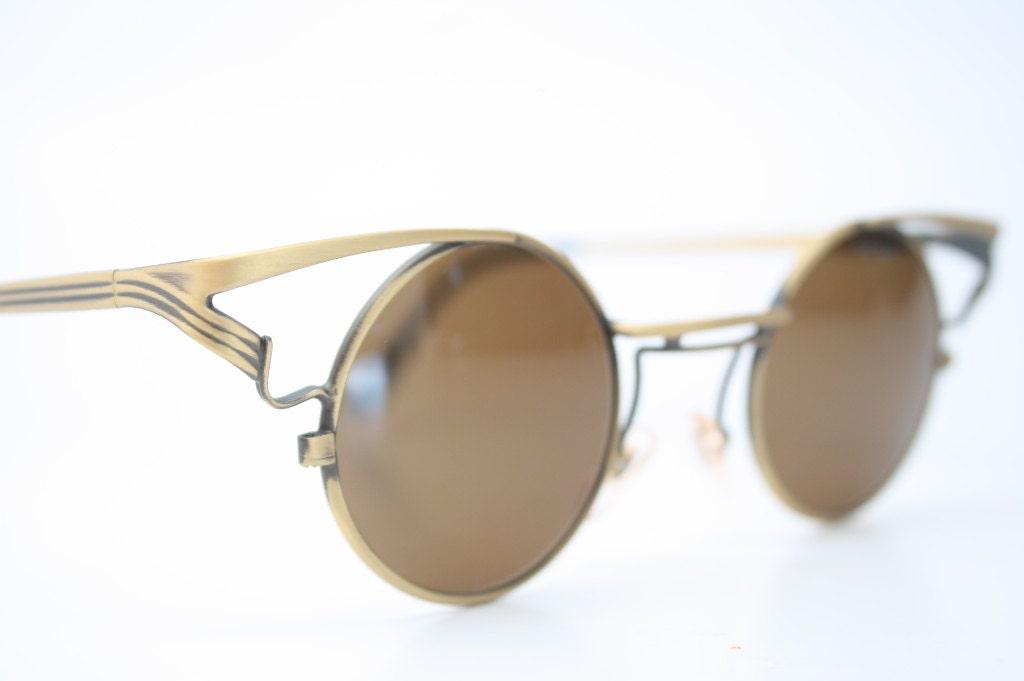 Vintage Round Gold Frame Sunglasses : Vintage Eyeglasses Round Gold Sunglasses Deadstock 1980s