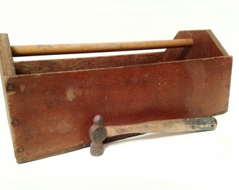 Vintage Large Wood Carpenters Tool Box