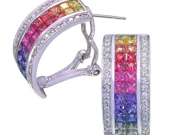 Multicolor Rainbow Sapphire & Diamond Invisible Set Huggie Earrings 18K White Gold (8.75ct tw) SKU: 1534-18K-Wg