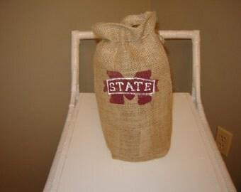 "Burlap ""TEAM"" Wine Bags.......custom made"