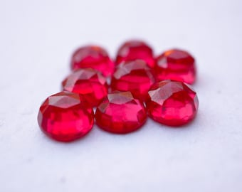Pink Ruby faceted cabochon - 10mm (1 piece).