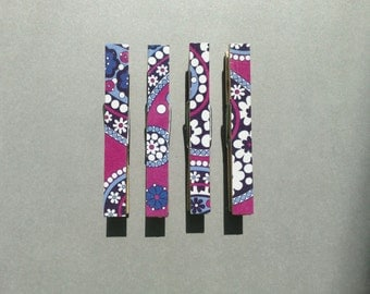 Vera Bradley Boysenberry Clothespin Magnets Set of four: Purple, Blue, and White
