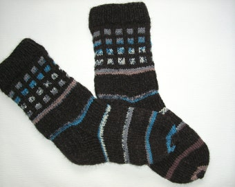 Hand Knitted Wool Socks - Colorful Wool Socks for Men -Mens Socks -Size Medium US 9,5-10,EU43