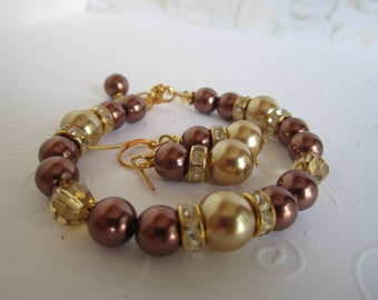 Chocolate Brown Champagne Pearl Bridesmaid Bracelet and Earring Set Fall Wedding Autumn Wedding