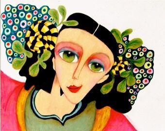 Whimsical Art, Whimsical Girl Print, Girls Room Decor, Green And Black, Woman Portrait, Mixed Media, Art For Women, Carlotta by Paula DiLeo