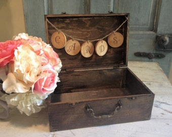 Rustic Wooden Card Box-Card Box-Rustic Wedding Card Box by Burlap and Linen Co.