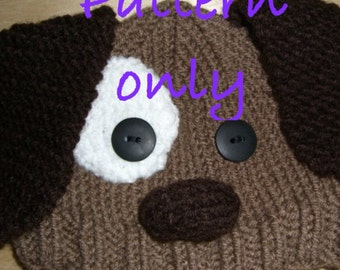 PATTERN: Hand knitted brown puppy dog hat for babies do it