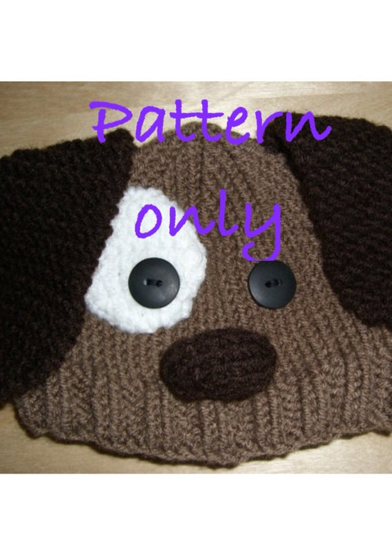 Knitting Patterns For Dogs Hats : PATTERN: Hand knitted brown puppy dog hat for babies do it