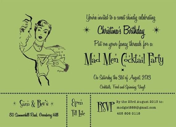 Party Invitation Mad Men Mid Century Themed DIY PRINTABLE PDF