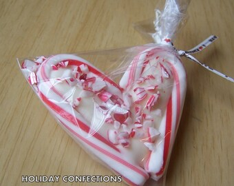 Peppermint chocolate filled candy cane hearts - favors