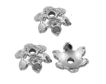 50 pc 12mm antique silver acrylic bead caps-7588