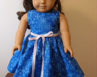 "AG Doll Dress - Holiday Christmas Dress In Blue with Sparkels and Snowflakes  for American Girl Doll or any 18"" Doll - Doll Clothes"