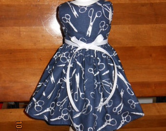 "AG Doll Dress - Navy Blue with White Scissors/Shears Print Doll Dress fitting American Girl & Similar 18"" Dolls - Doll Clothes"