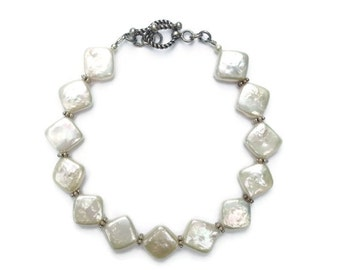 Fabulous Diamond Pearl and Bali Silver Beaded Bracelet