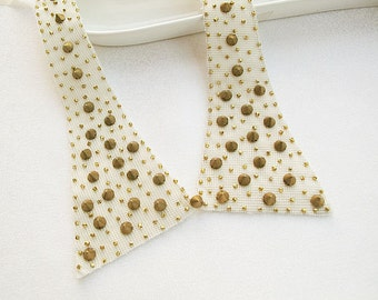 Beige Studded Collar- Peter Pan Collar, Women, For Women, Women Accessories, Geometric