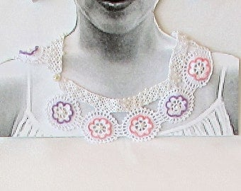 Lace Collar Necklace-Peter Pan Collar Necklace-Handmade-embroidered with pearls