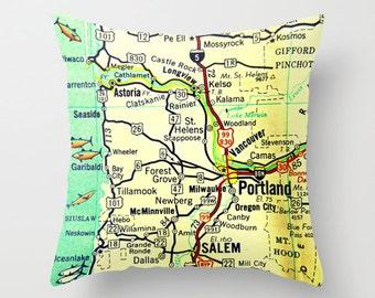 Portland Pillow Cover, vintage Portland Oregon map 18x18, Oregon home gift