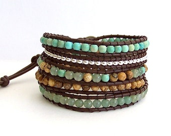 Wrap Bracelet - Aventurine, Jasper, Aqua, Silver Nugets, Brown Leather - Boho Artisan