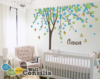 "Baby Nursery Wall Decals - Cherry Blossom Tree Wall Decal - Tree Decal - Butterfly Decal - Large: approx 113"" x 93"" - KC023"