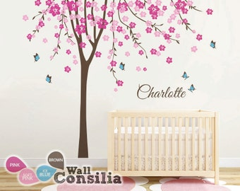 """Baby Nursery Tree Wall Decal - Large Cherry Blossom Tree Wall Mural - Tree Wall Sticker with butterflies Large: approx 113"""" x 93"""" - KC023"""