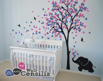 """Baby Nursery Wall Decals - Tree Wall Decal Elephant Decal Decor Tree Wall Mural Sticker Decoration - Large: approx 83"""" x 53"""" - KC033"""