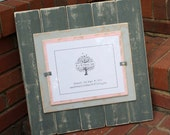 8x10 Picture Frame - Distressed Wood - Holds an 8x10 Photo - Gray, Light Gray & Light Pink
