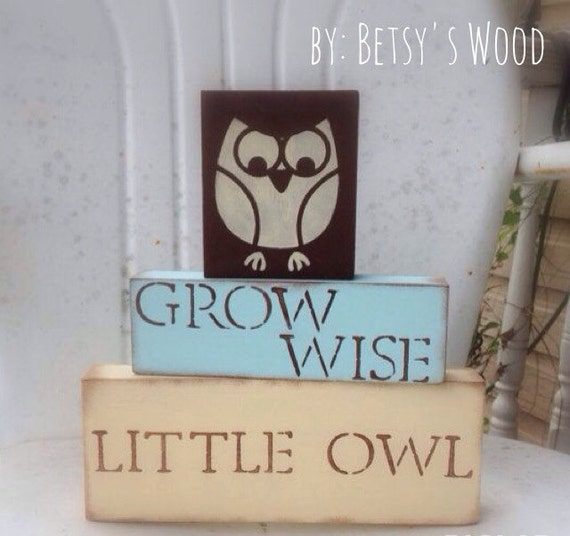 N U R S E R Y  // Owl Blocks (Customize colors) nursery gender neutral nursery child grow wise rustic yellow turquoise brown