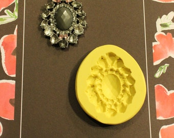 Jeweled Brooch silicone mold with marquise, pear, oval  and round shaped jewels