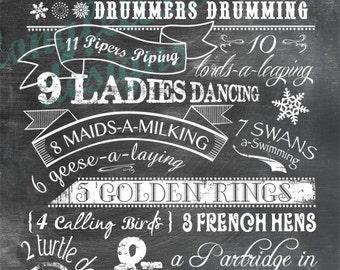 Twelve Days of Christmas - Choose Chalkboard Look or Kraft Look Print