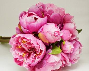 Peony Bouquet - Fuchsia, Hot Pink, Peony Bouquet, High Quality Silk Peonies, Pink Peony Bouquet
