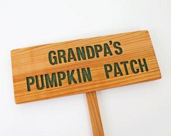 GRANDPA'S PUMPKIN PATCH, Garden Sign, Cedar Wood Personalized Grandfather Gift, Hunter green Letters
