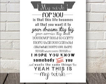 My Wish Print - Beautiful Gift for many occasions - Can do any colors :)