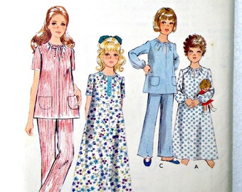 Tween Girl's Nightgown and Pajamas Sewing Pattern Style 2571 Size 14