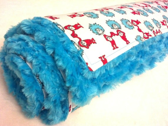 Minky Baby Blanket Dr Seuss Thing One and Thing Two with Turquoise Swirl Minky