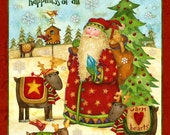 Santa's Journey Fabric Wall Hanging Panel by Spectrix