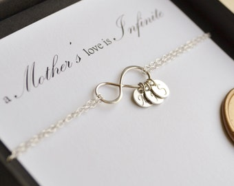 Mother's Infinite Love Sterling Silver Charm Bracelet with Personalized Hand Stamped Monogrammed Charms