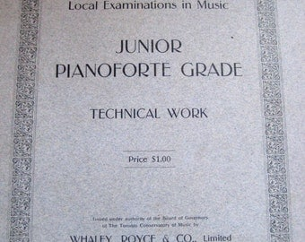 Toronto Conservatory of Music, Local Examinations in Music, Junior Pianoforte Grade Technical Work, Whaley, Royce & Co. Ltd.